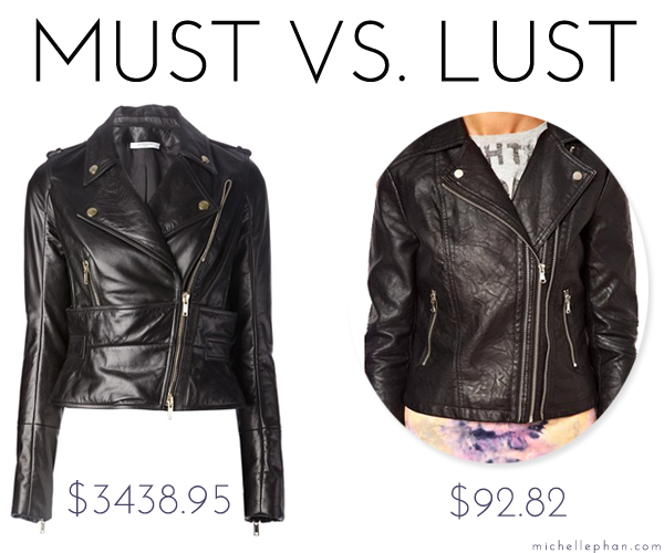 Must vs lust leather jackets michelle phan michelle phan for What is faux leather to real leather